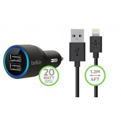 Cargador Doble De Coche USB Belkin 2.1 + 2.1 AMP 10W + Cable de datos Lightning Compatible IOS8