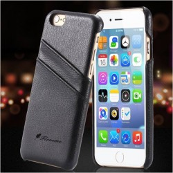 Funda Carcasa Tarjetero de Piel para iPhone 6 Plus Case De Color Negro