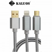Cable Trenzado de Datos Kaluos ® iPhone - Android Compatible con iOS 9