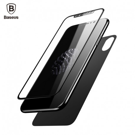 Protector Baseus Glass Film Set Para iPhone X Delantero y Trasero