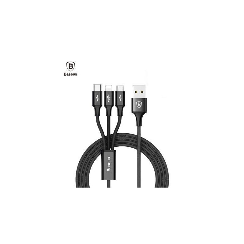 3 en 1 Cable Tipo C a tipo C Micro USB Lightning Samsung Huawei Sony LG Xiaomi iPhone Baesus