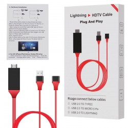 Cable Lightning Cargador y video a HDTV Adaptador HDMI AV para iPhone 5 6 6S 7 Plus 8 X iPad